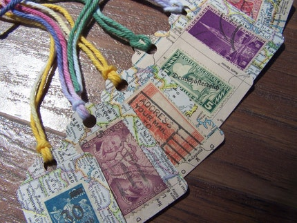 Vintage Map and Postage Stamp Tags