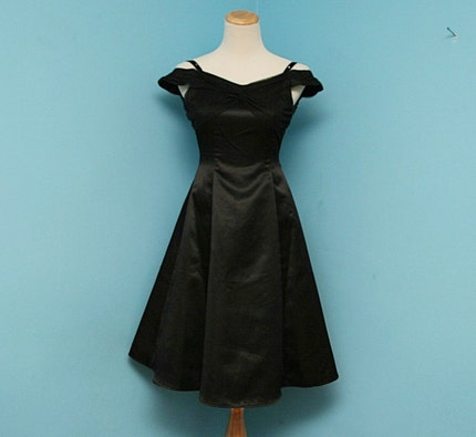 VTG Shiny SATIN Off the Shoulder LITTLE BLACK DRESS  XS/S