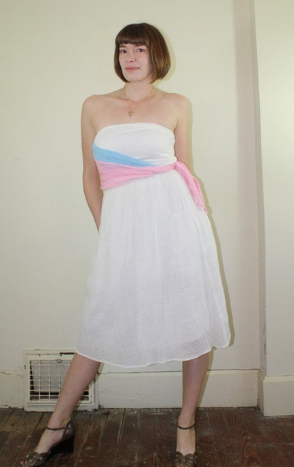 70's Sheer Cotton Gauze Strapless Dress