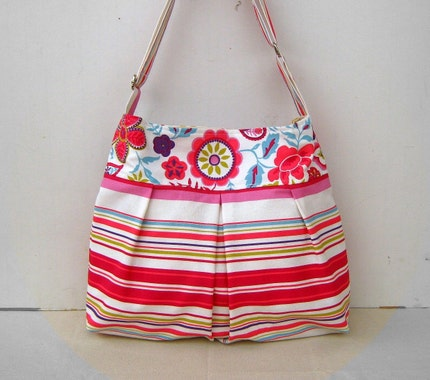 Floral Lines --everyday purse, with an adjustable strap--