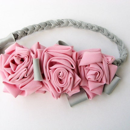 Three Roses - Pink and Gray Headband