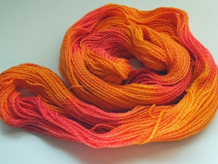 SALE...CORAL MANGO - COTTON Hand-Painted Yarn, NEW - Light-Weight, 250 yds, Gorgeous