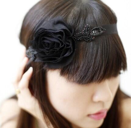 headband by icecreamcandy-black flowers