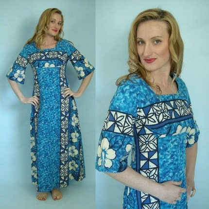 Vintage on Etsy - HAWAIIAN Hibiscus Blue 60s 70s Vintage Maxi Dress by UI Maikai S by empressjade