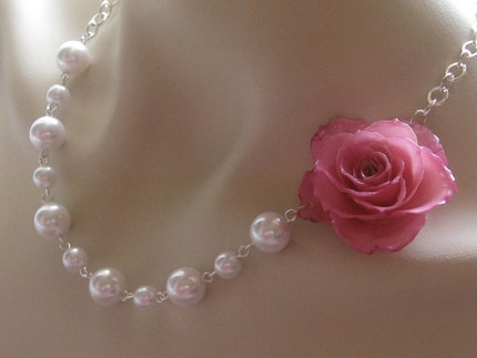 Handmade Weddings on Etsy - Luxury Real Baby Pink Rose and Pearls Necklace