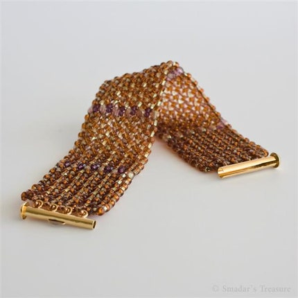 Sparkling Beadwoven Topaz and Amethyst Bracelet