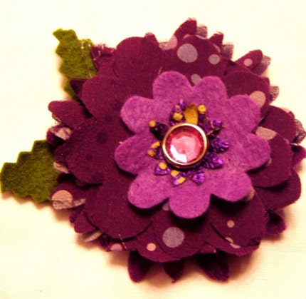 Craft Supplies on Etsy - Violet Swoon Flower for Applique Hair Brooch by goodblossoms from etsy.com