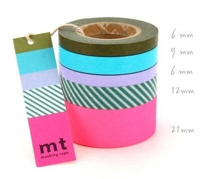 Colored Paper Masking Tape Sweet Set HOT PINK Mix