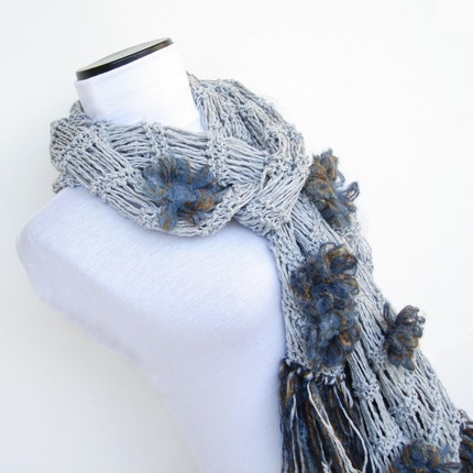 Grey Scarf with Daisy...Limited Edition... by Ayca on Etsy from etsy.com