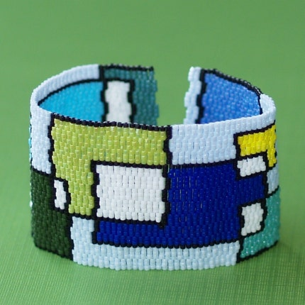 Playing with Blocks - Wide Beadwoven Cuff in Blues and Greens (3051)