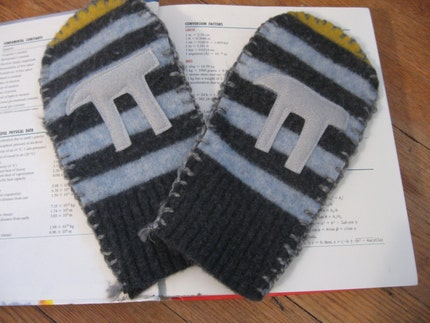 Recycled wool mittens complete with Pi