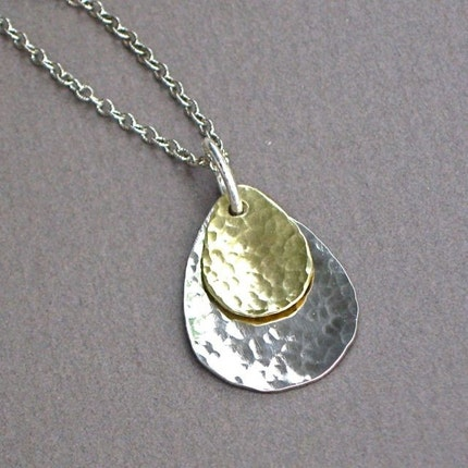 Sterling Silver/Brass Hammered Teardrop Necklace - Simplicity