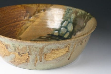 ochre moss wide bottom bowl