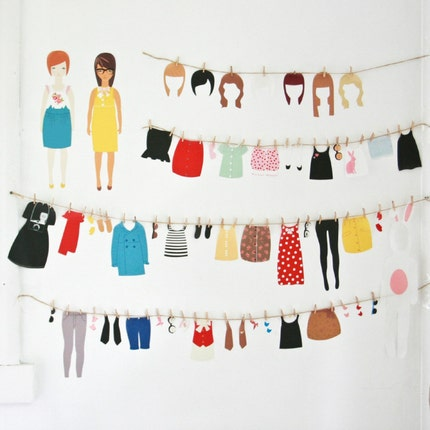 Dress up Dolls - wall stickers, removable decals
