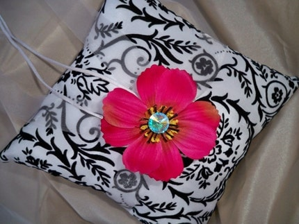 Damask White and Black Wedding Pillow With Hot Pink Cosmos Daisy