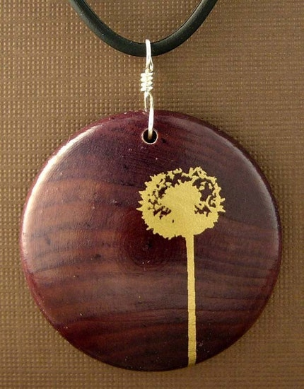 Dandelion Quality stained Maple Wood 1.5 inch Pendant with FREE rubber cord 16 or 18 inch you choose