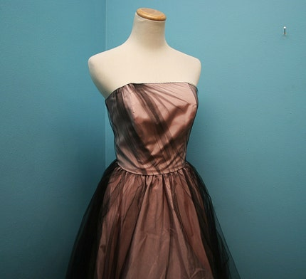 VTG Pink BALLERINA Princess GOWN with BLACK Net Overlay  XS/S