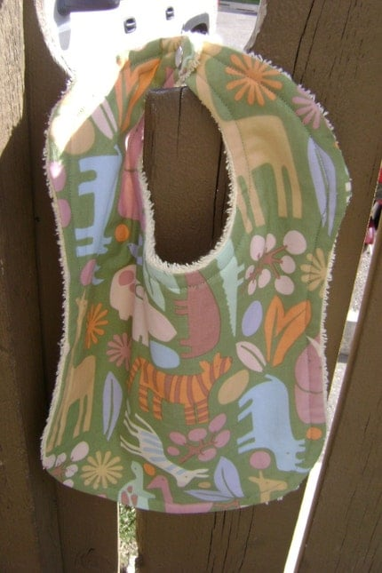 Baby Bib - 2D Zoo in sage - Alexander Henry - Half price with 2D Zoo shoe purchase