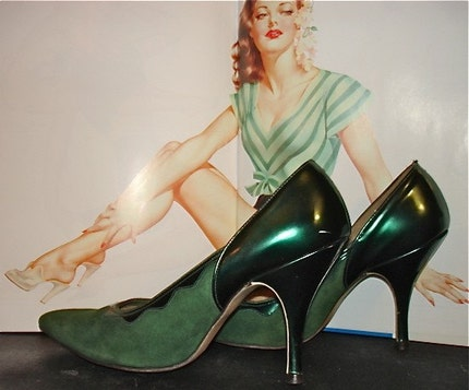 emerald green pin up shoes size 5