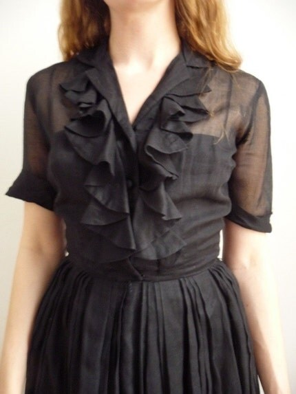 50s Sheer Black Day Dress with Ruffled collar