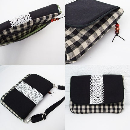 SALE - 2 way bag clutch/pochette - Black gingham