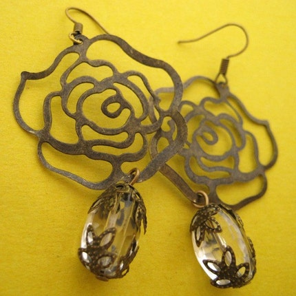 Handmade Jewelry on Etsy - diana - rose filigree crystal earrings by becial