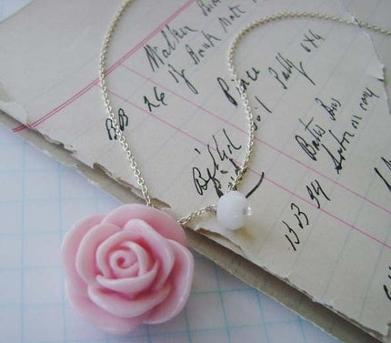 soft pink rose. silver necklace