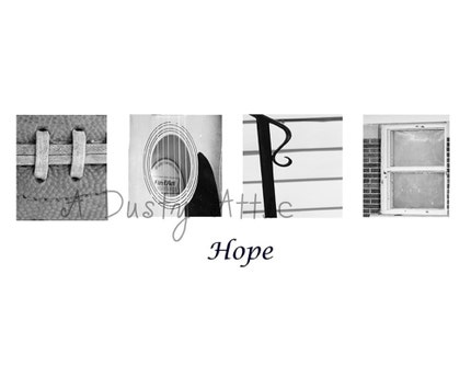 Word Art HOPE H-O-P-E Architectural Alphabet Letters Print 8x10