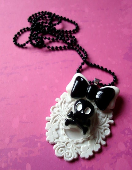 MEOW KITTY Cute Punk Kawaii Skull Necklace