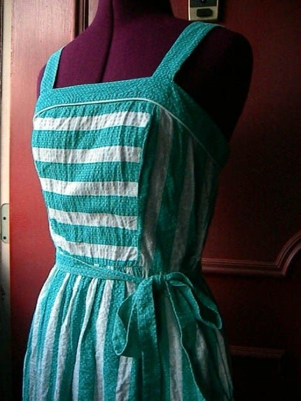 Summertime Green and White Striped Polka Dot Sundress sz M