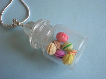 French macarons rainbow bottle necklace