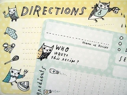 OWL RECIPE CARDS set of 10, with grocery shopping list, original bird illustrations