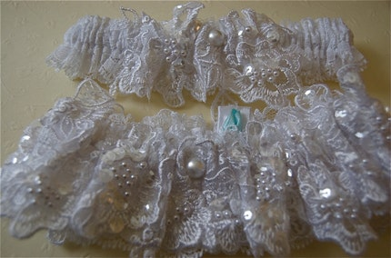 Heirloom Beaded Lace on Vintage Lace Wedding Garter Set