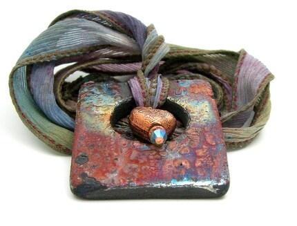 Cameleon Heart Raku Pendant...Raku Jewelry by MAKUstudio