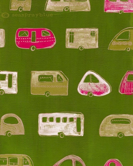 the caravan exhibition (green and pink)