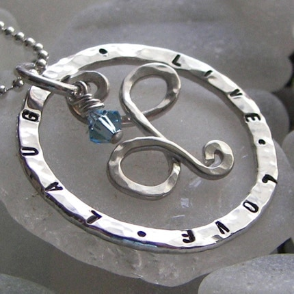 Personalized silver necklace with handmade initial charm