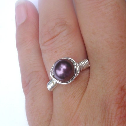 Black Raspberry Pearl Ring