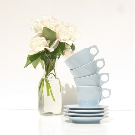 Powder Blue Boonton melamine Cups and Small Plates set of 4 each