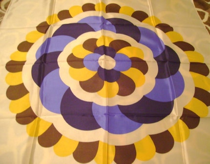 Large vintage scarf op art flower print by Simone hand printed blue yellow brown