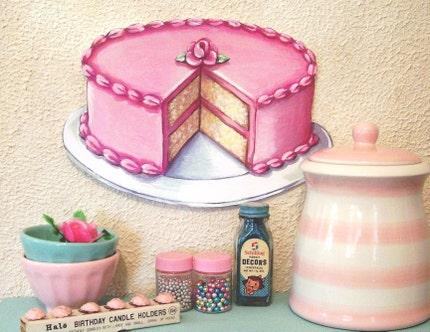 Vintage Diner Bakery inspired Original Art PINK buttercream layer CAKE die cut Wall ART