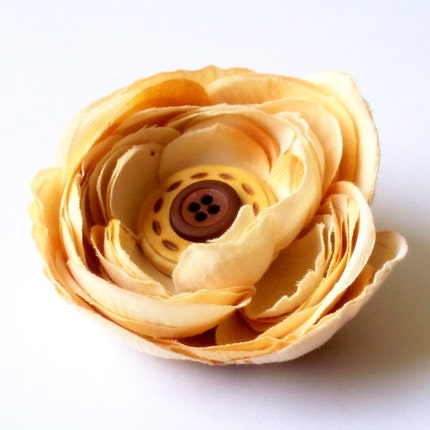 The Vintage Collection- Cream, Tan and Brown Ranunculus Buttercup Flower Hair Clip OR Brooch