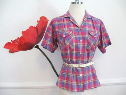 80s new wave CAMP SHIRT madras plaid INDIAN COTTON preppy