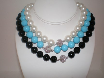 Turquoise Shell Pearl Necklace with Pave Clasp