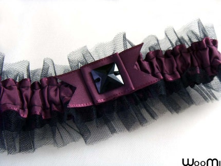 Plum and black combination garter Plum ribbon with black tulle and black