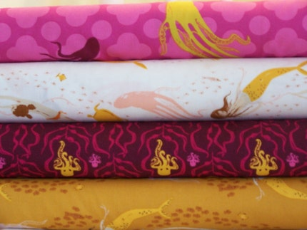 Heather Ross, Mendocino, 4 Fat Quarter Set, Underwater Sisters, Fuchsia and Blush