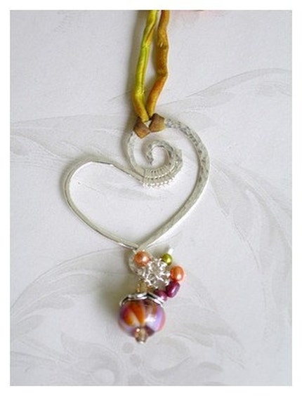 Fine Silver Heart Necklace with Silk Ribbon Cording