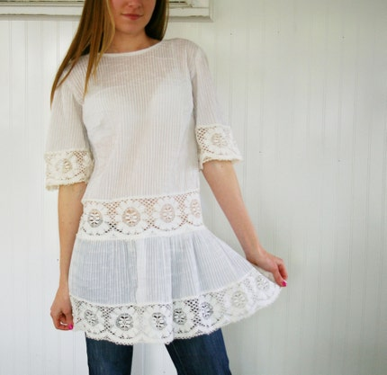 Vintage PINTUCK and LACE Tunic by MariesVintage from etsy.com