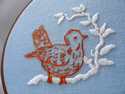 BIRD ON A BRANCH hand embroidered wall art