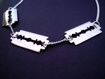 TRIPLE THREAT Large Silver Razorblade Necklace
