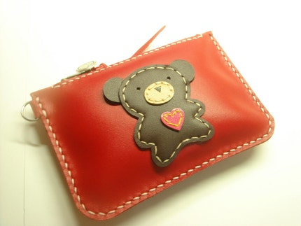 Lovely Bear Leather Purse ( Red )